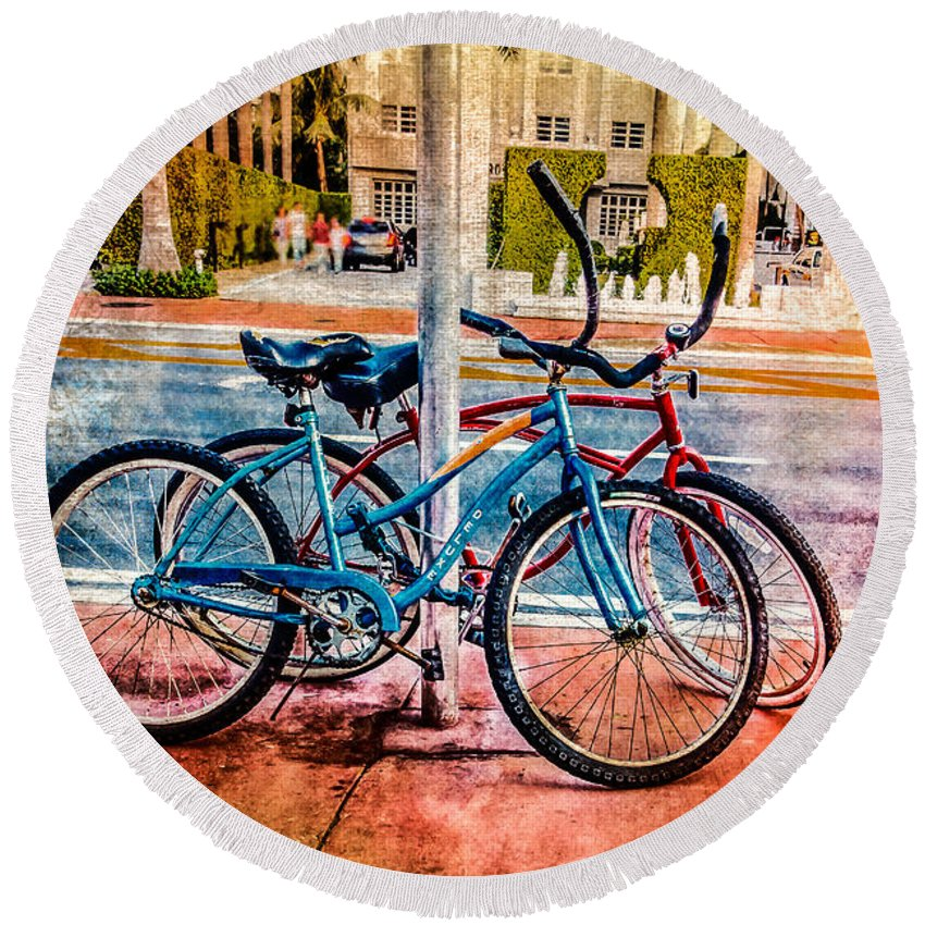 Round Beach Towel featuring the photograph Red And Blue Rides by Melinda Ledsome