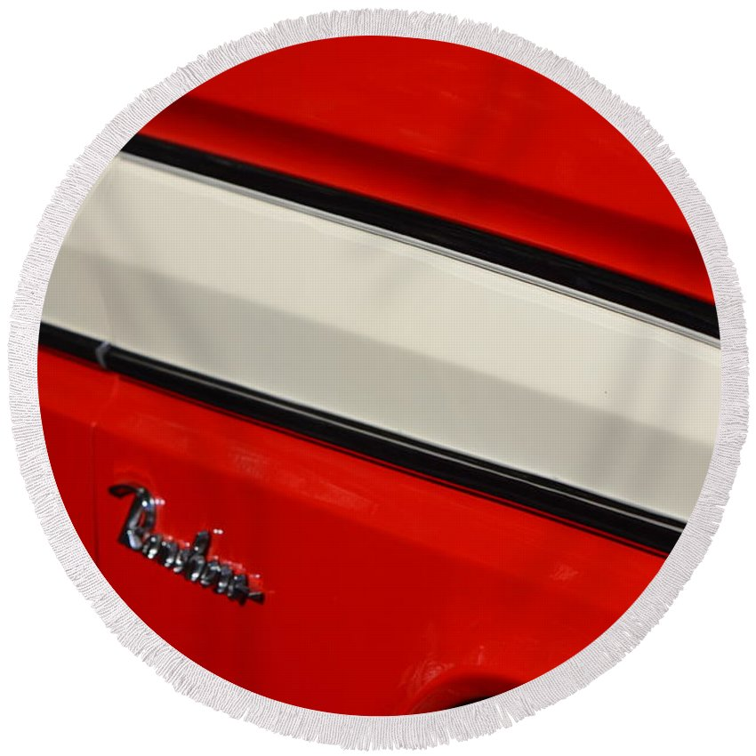 Round Beach Towel featuring the photograph Red And White Ranchero by Dean Ferreira