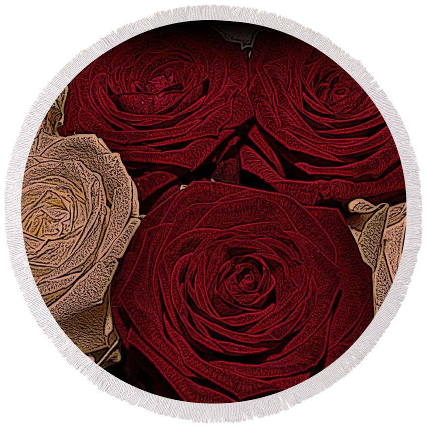 Rose Round Beach Towel featuring the photograph Red And White Roses Color Engraved by David Dehner