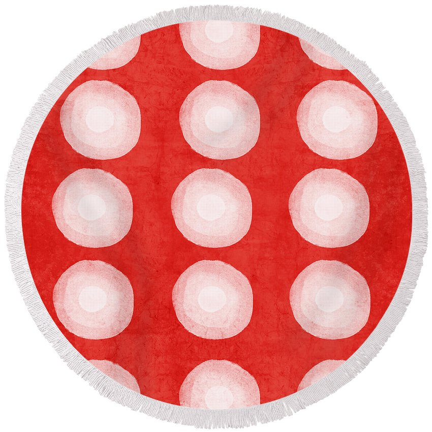 Shibori Round Beach Towel featuring the painting Red and White Shibori Circles by Linda Woods