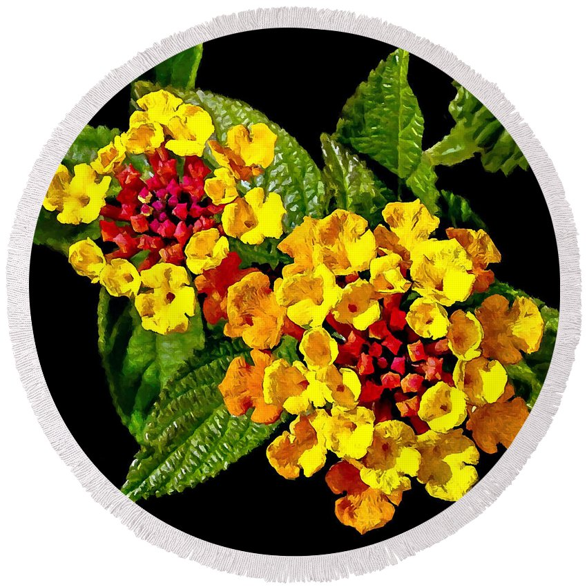 Red and yellow lantana flowers with green leaves round beach towel asia round beach towel featuring the painting red and yellow lantana flowers with green leaves by mightylinksfo