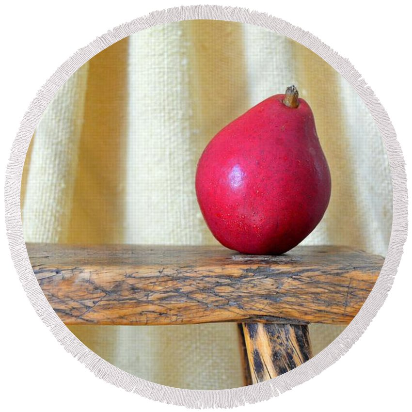 Anjou Pears Round Beach Towel featuring the photograph Red Anjou Pear by Mary Deal