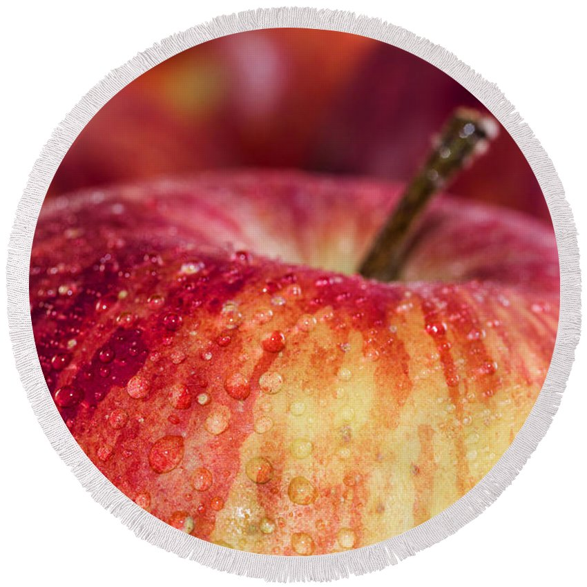 Red Round Beach Towel featuring the photograph Red Apple by Paulo Goncalves