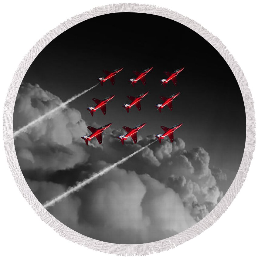 Red Round Beach Towel featuring the digital art Red Arrows Diamond 9 - Pop by J Biggadike