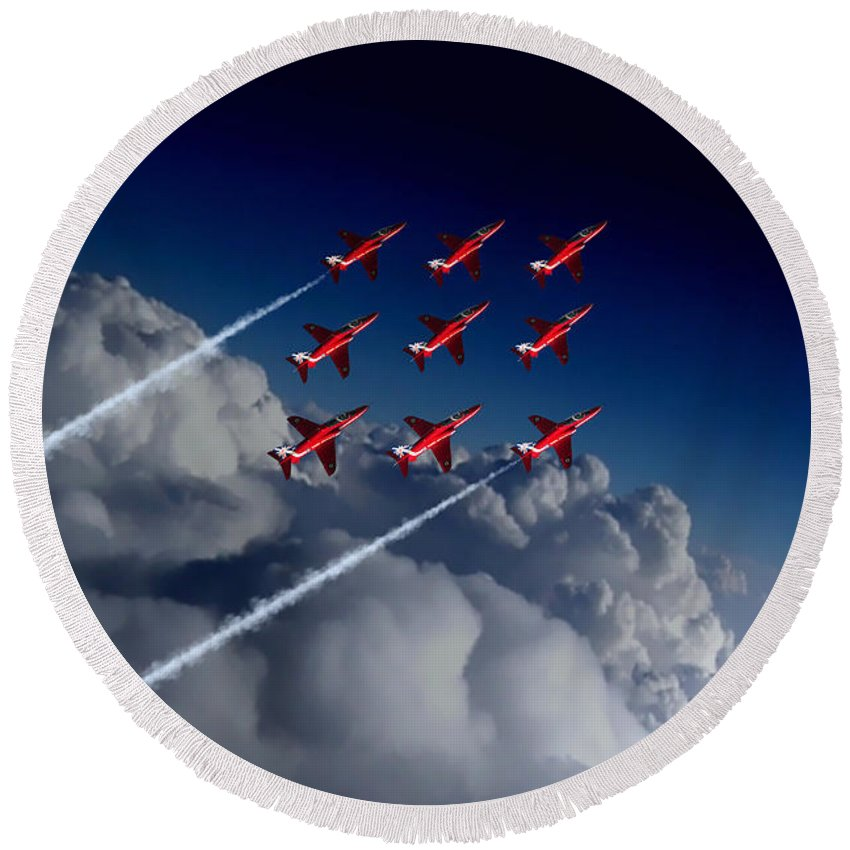 Red Arrows Round Beach Towel featuring the digital art Red Arrows Diamond 9 by J Biggadike
