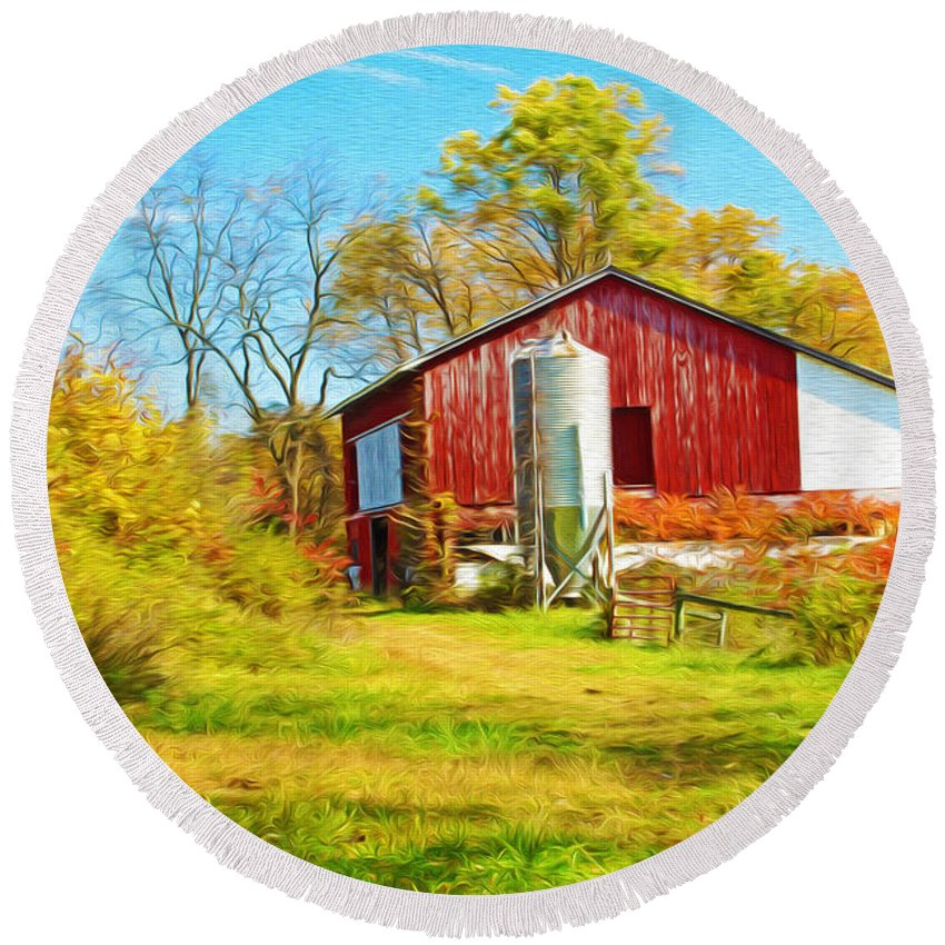 Red Barn Round Beach Towel featuring the photograph Red Barn In Autumn by Laura D Young