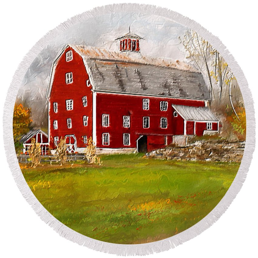 Farmhouse At Robinson Farm Round Beach Towel featuring the painting Red Barn In Woodstock Vermont- Red Barn Art by Lourry Legarde