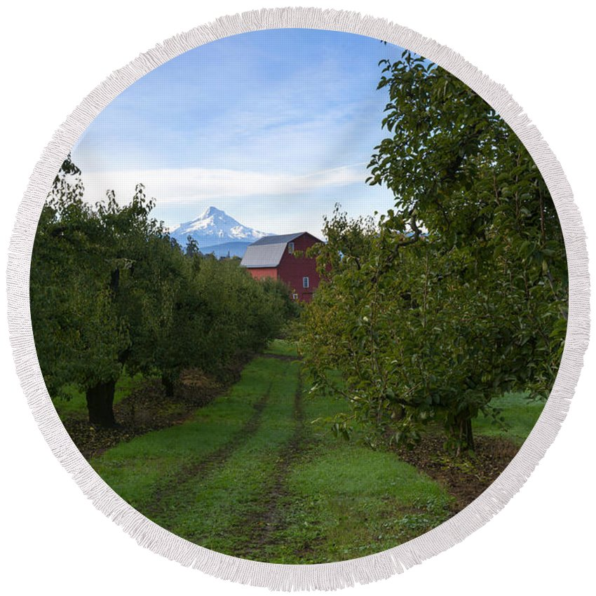 Mt. Hood. Red Barn Round Beach Towel featuring the photograph Red Barn Mountain by Mike Dawson
