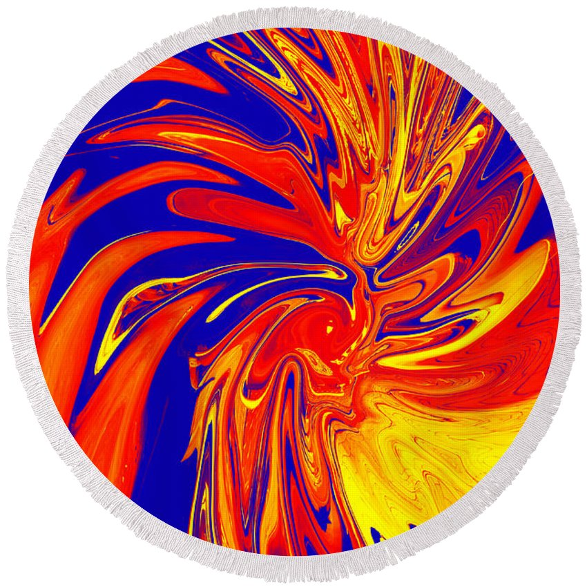 Red Round Beach Towel featuring the digital art Red Blue Orange Red Yellow Swirl by Christopher Shellhammer
