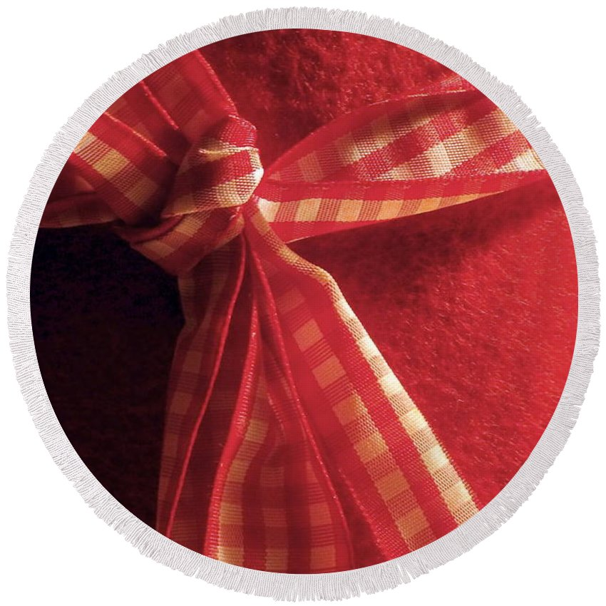 Red Round Beach Towel featuring the photograph Red Bow by Brainwave Pictures