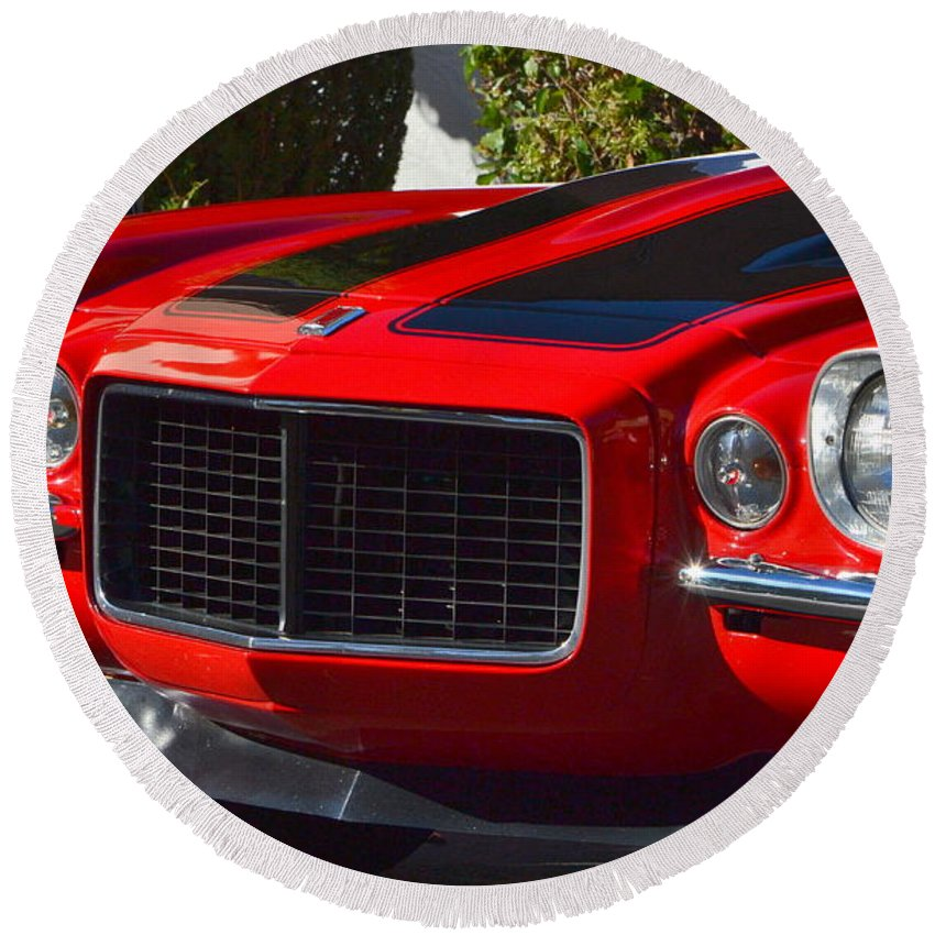 Round Beach Towel featuring the photograph Red Camaro by Dean Ferreira
