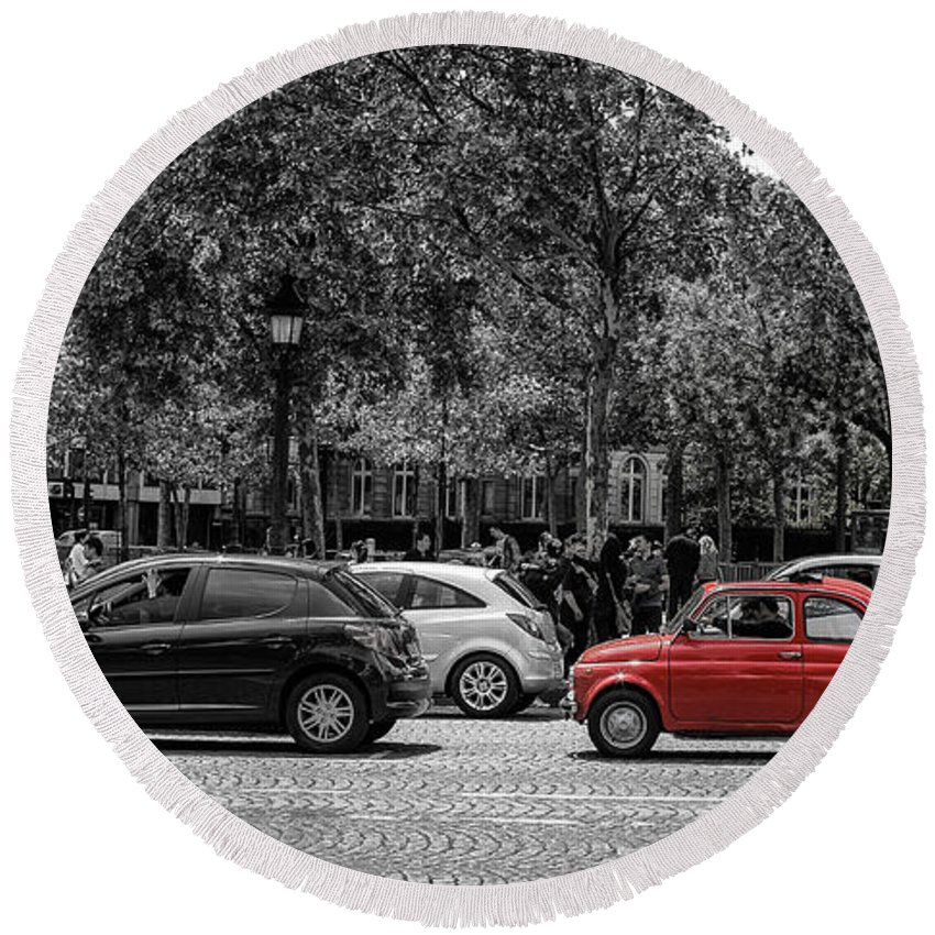 Paris Round Beach Towel featuring the photograph Red Car In Paris by Nigel R Bell