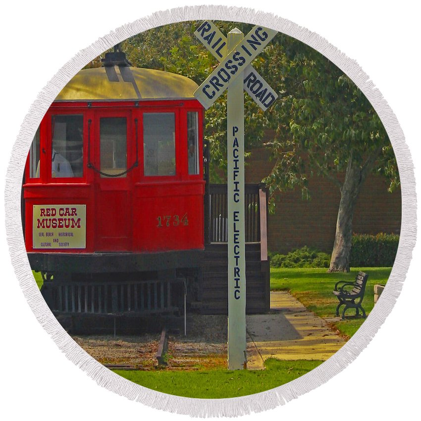Red Car Round Beach Towel featuring the photograph Red Car Museum In Seal Beach Ca by Ben and Raisa Gertsberg