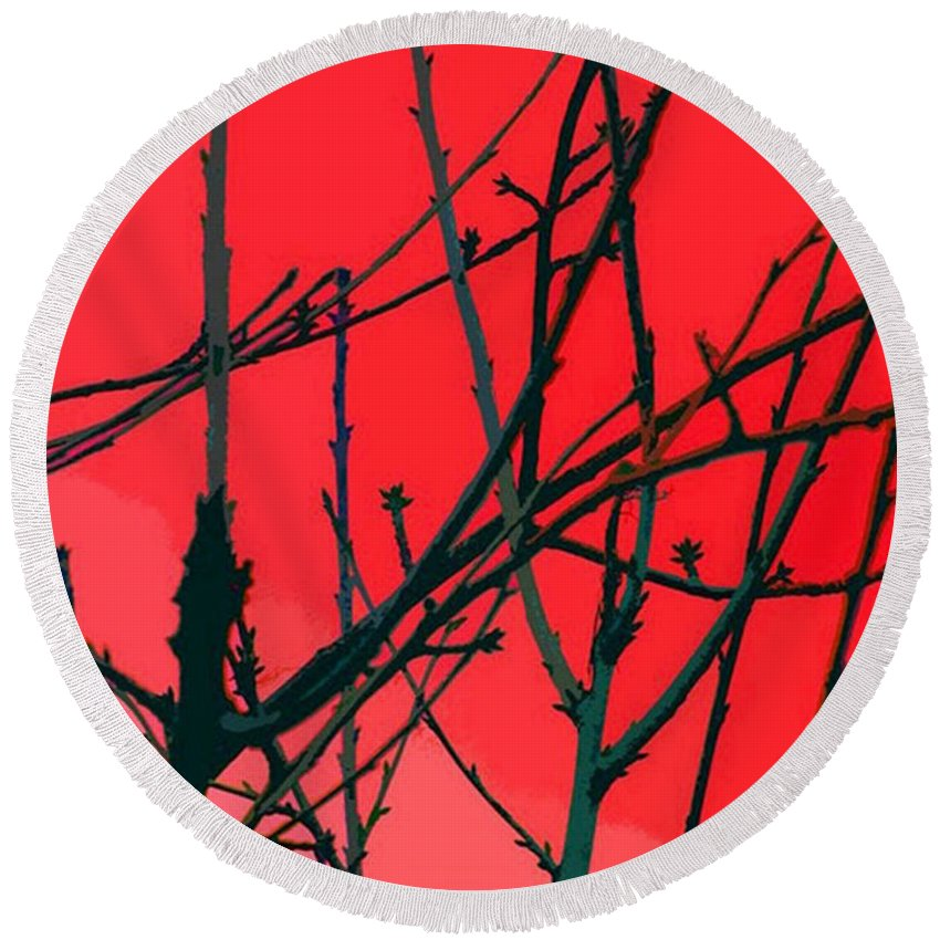 Red Round Beach Towel featuring the digital art Red by Carol Lynch