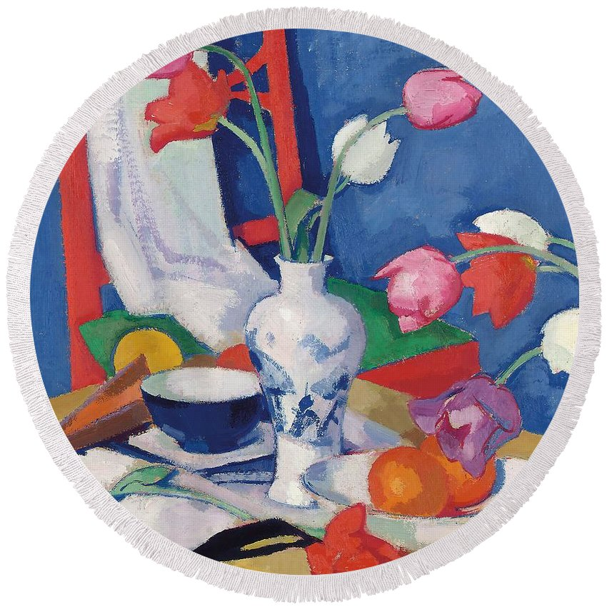 Still Life Round Beach Towel featuring the painting Red Chair And Tulips, C.1919 by Samuel John Peploe