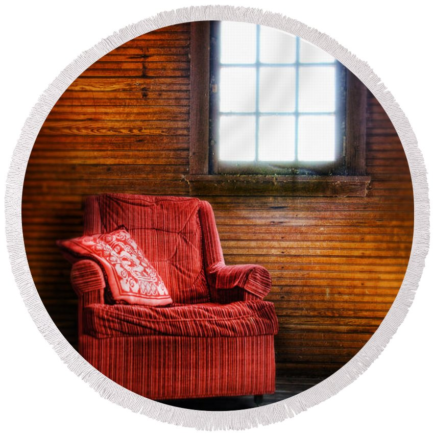 Chair By The Window Round Beach Towel featuring the photograph Red Chair In Panelled Room by Jill Battaglia