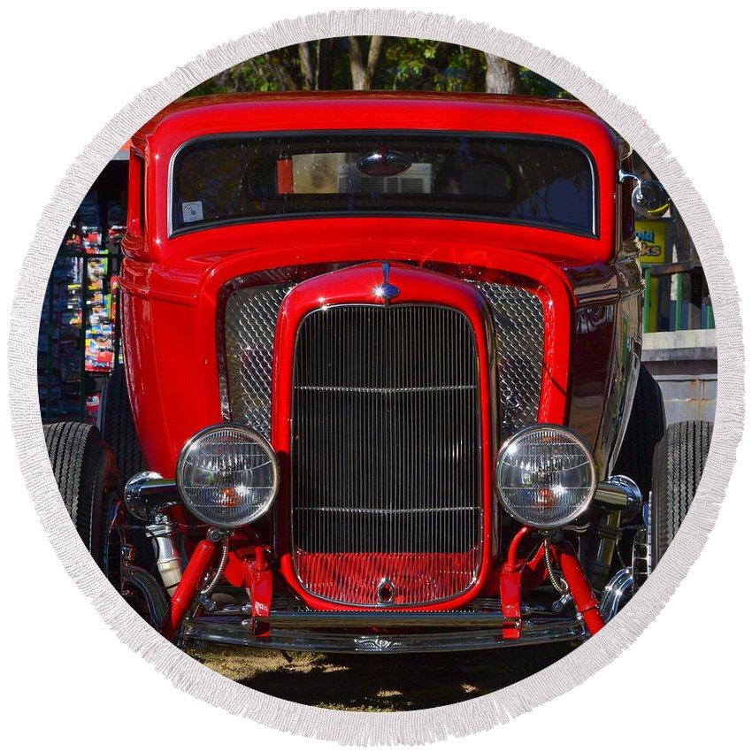 Round Beach Towel featuring the photograph Red Classic Hotrod by Dean Ferreira