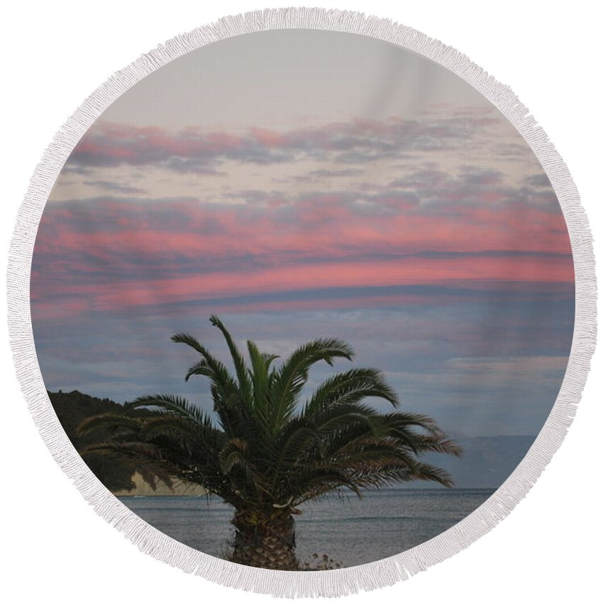 Red Clouds Round Beach Towel featuring the photograph Red Clouds by George Katechis