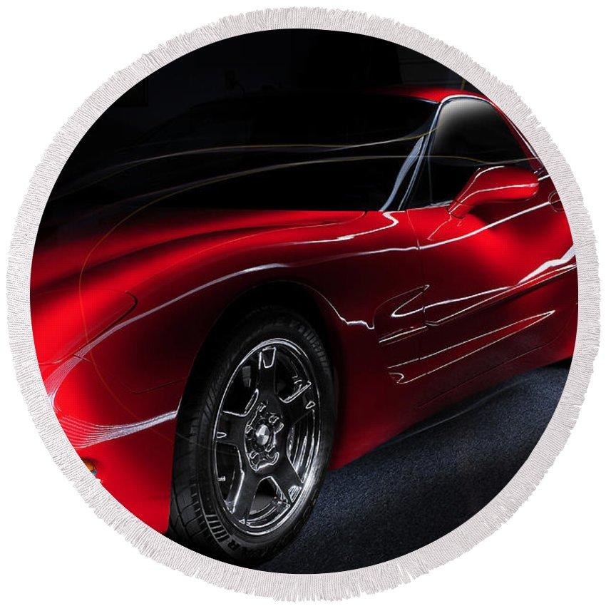 Corvette Round Beach Towel featuring the photograph 1997 Red Corvette by Joseph LaPlaca