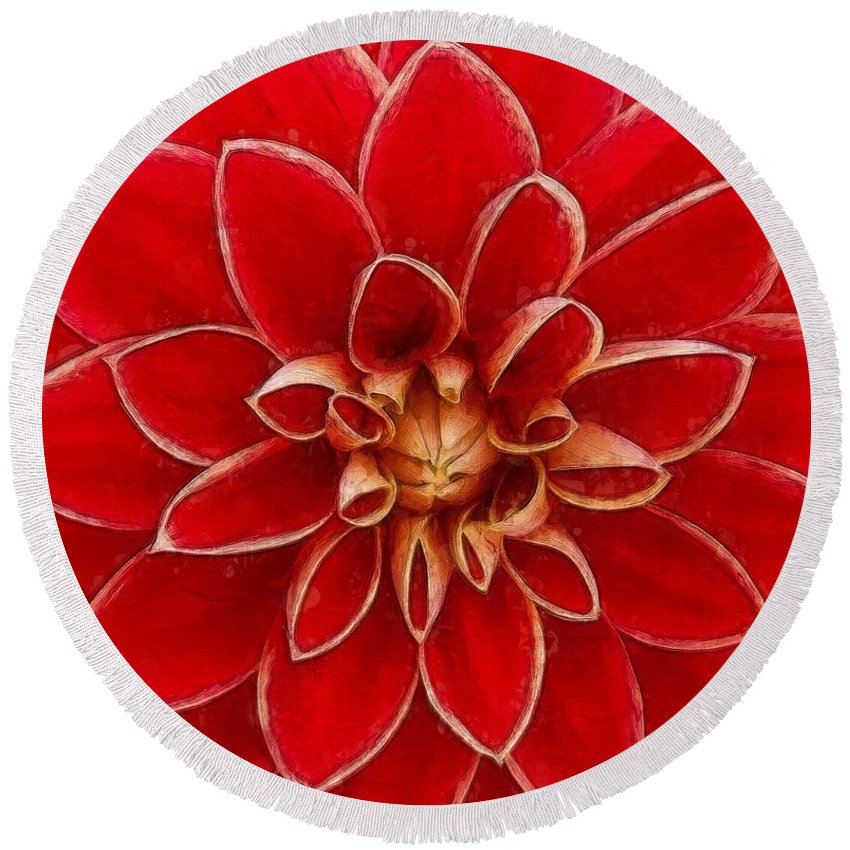 Flower Round Beach Towel featuring the painting Red Dahlia by Sandy MacGowan