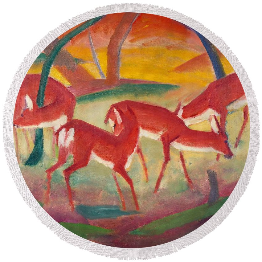 Blaue Reiter; Expressionist; German Expressionist; Red; Deer; Animal; Animals; Herd; Grazing; Landscape; Rural; Countryside; Nature; Wildlife; Sunset; Setting Sun; Calm; Peaceful; Tranquil; Atmospheric; Stylised Round Beach Towel featuring the painting Red Deer 1 by Franz Marc
