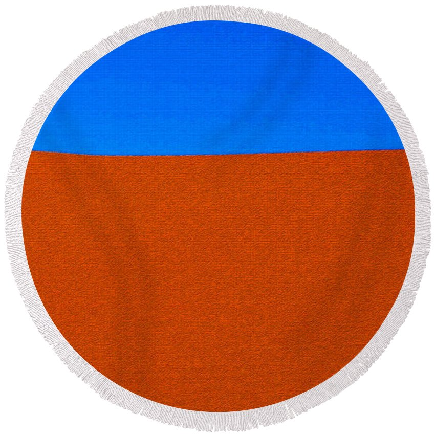 Red Desert Blue Sky Round Beach Towel featuring the painting Red Desert Blue Sky by David Lee Thompson