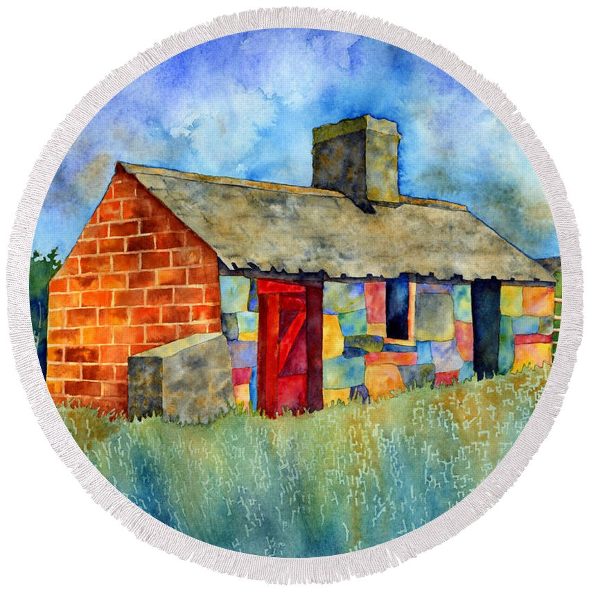 Painting Round Beach Towel featuring the painting Red Door Cottage by Hailey E Herrera