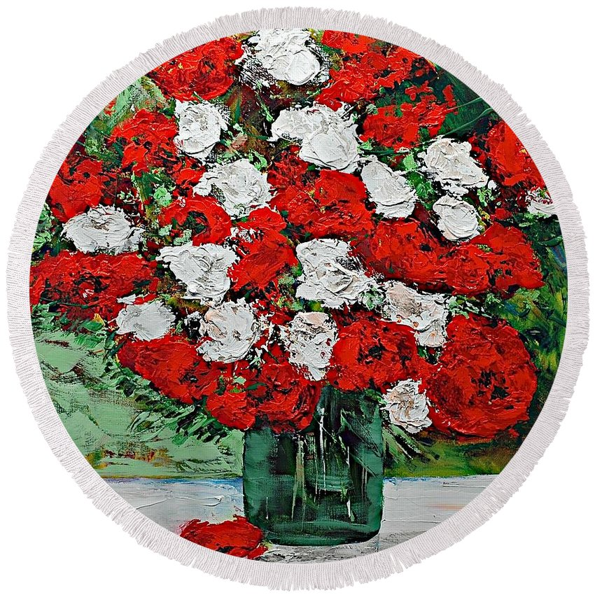 Landscape Round Beach Towel featuring the painting Red Explosion by Allan P Friedlander