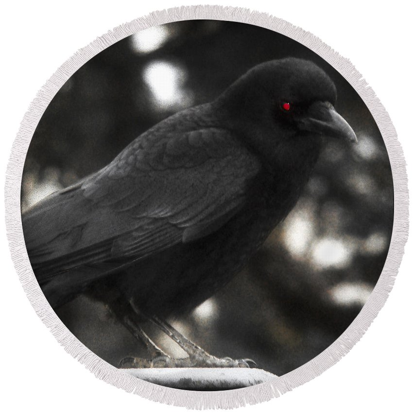 Red Eye Round Beach Towel featuring the photograph Red Eye by Gothicrow Images