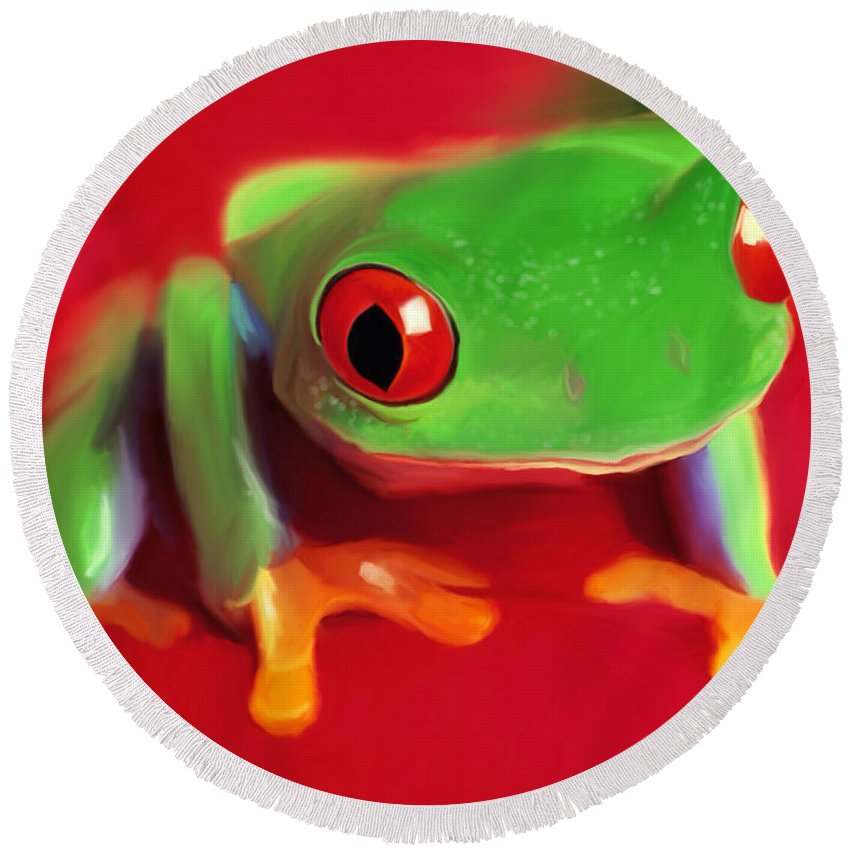 Red Eye Tree Frog Round Beach Towel featuring the painting Red Eye Tree Frog by Paul Tagliamonte