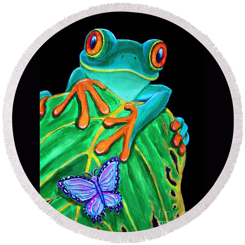 Red Eyed Tree Frog Round Beach Towel featuring the painting Red-eyed Tree Frog And Butterfly by Nick Gustafson