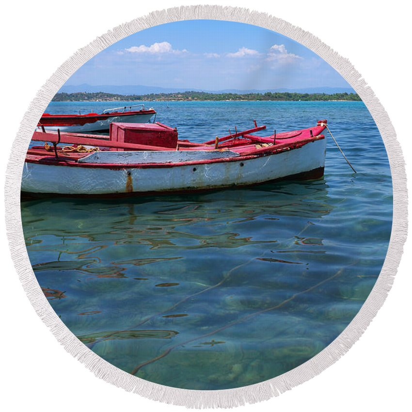 Sea Round Beach Towel featuring the photograph Red Fishing Boat by Grigorios Moraitis