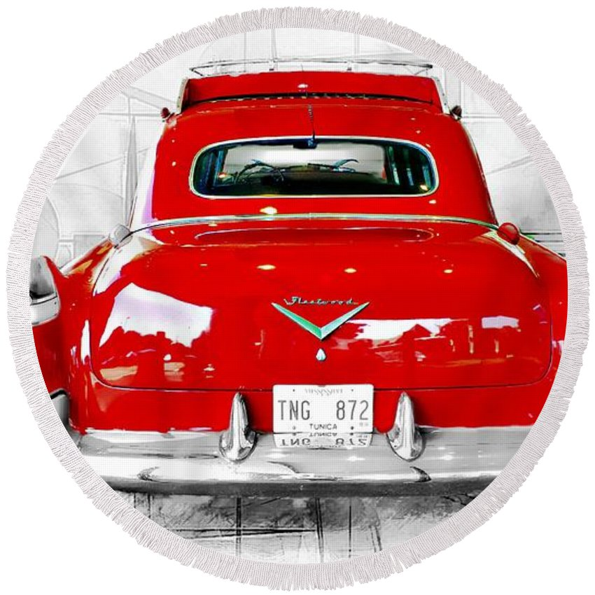 Fleetwood Round Beach Towel featuring the photograph Red Fleetwood by Barbara Chichester
