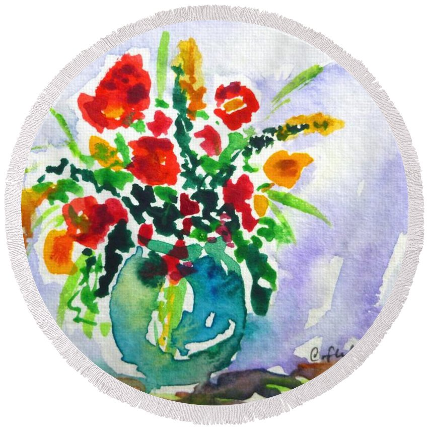 Vase Round Beach Towel featuring the painting Red Flowers In A Vase by Cristina Stefan
