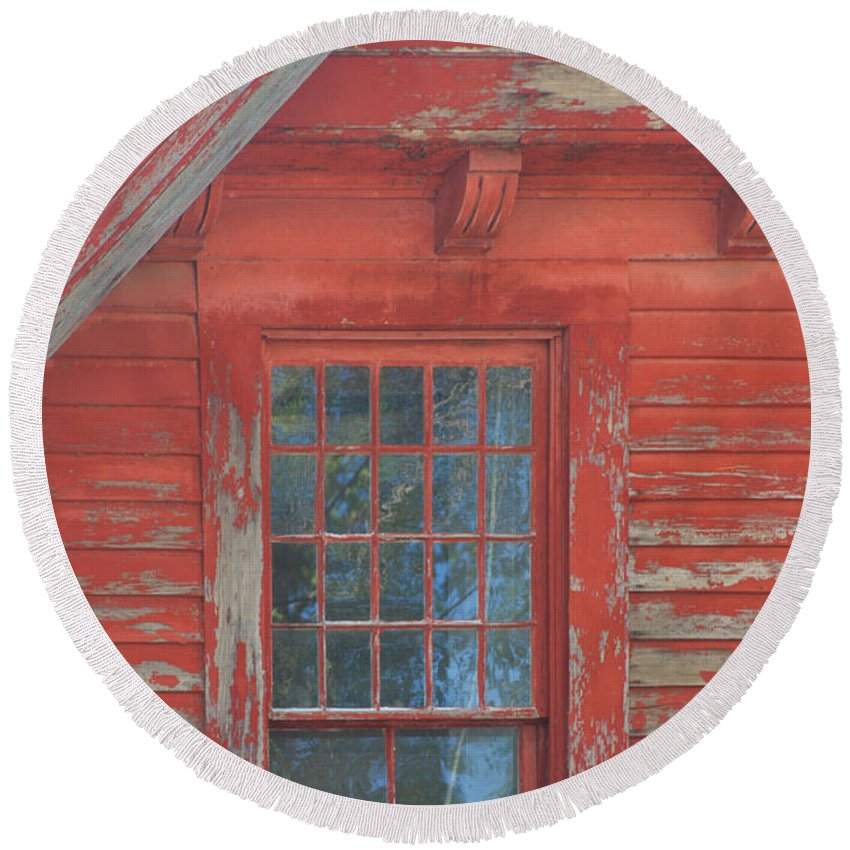 Faded Round Beach Towel featuring the photograph Red Gable Window by Ray Konopaske