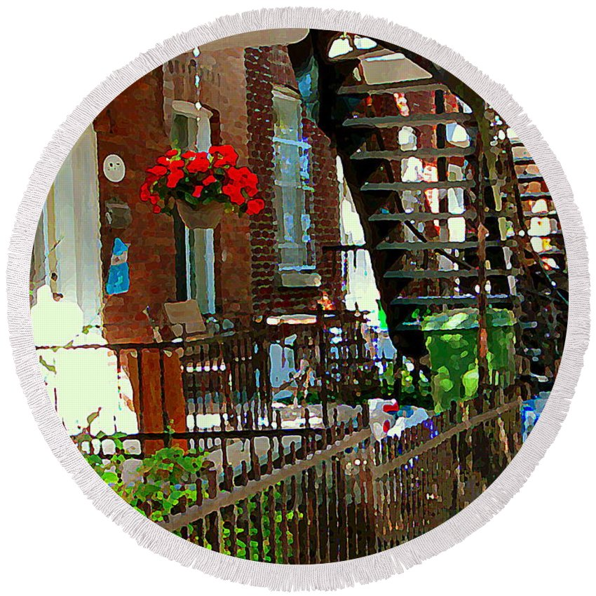 Montreal Round Beach Towel featuring the painting Red Geraniums Verdun Winding Staircases Hanging Flower Basket Montreal Porch Scene Carole Spandau by Carole Spandau