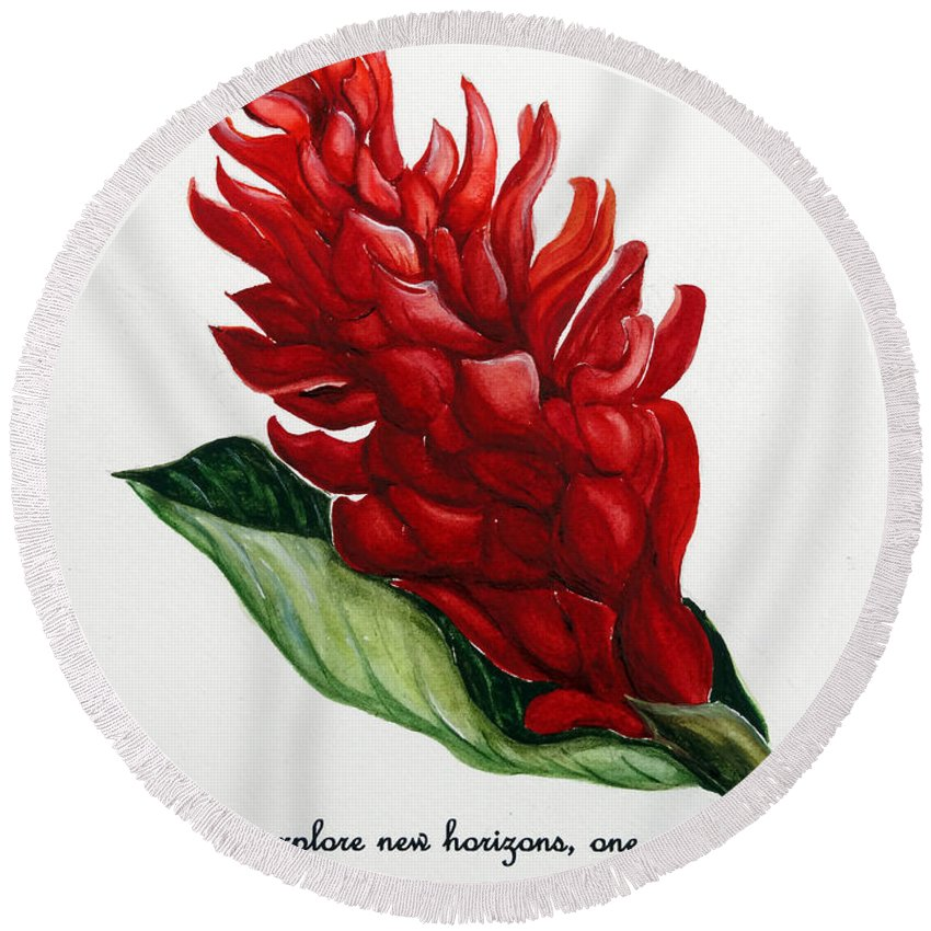Tropical Red Ginger Lily Round Beach Towel featuring the painting Red Ginger Poem by Karin Dawn Kelshall- Best