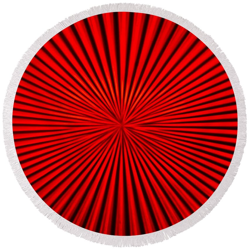 Vortex Round Beach Towel featuring the photograph Red Glass Abstract 1 by John Brueske
