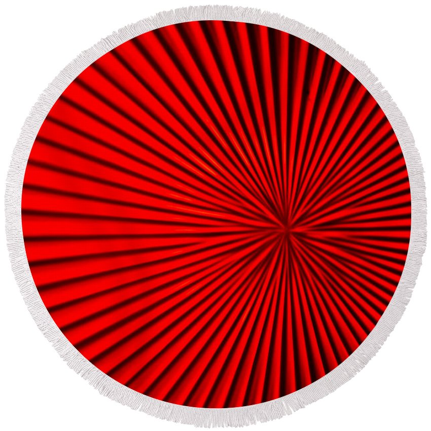 Vortex Round Beach Towel featuring the photograph Red Glass Abstract 5 by John Brueske