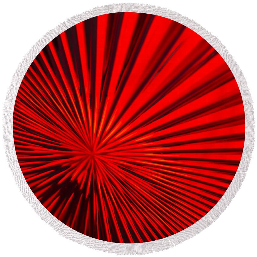 Vortex Round Beach Towel featuring the photograph Red Glass Abstract 6 by John Brueske
