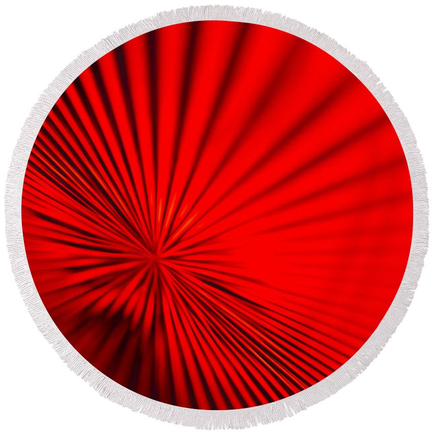 Vortex Round Beach Towel featuring the photograph Red Glass Abstract 7 by John Brueske
