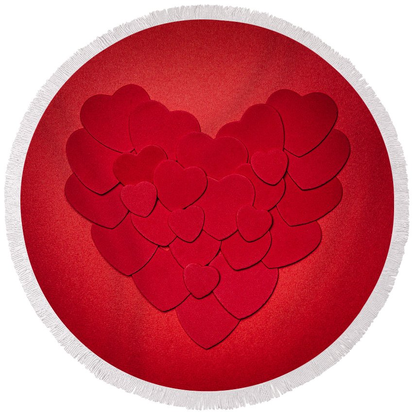 Heart Round Beach Towel featuring the photograph Red Heart by Elena Elisseeva