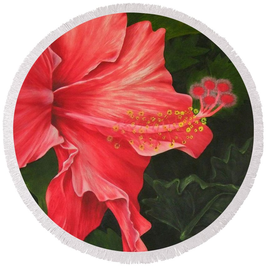 Red Flowers Round Beach Towel featuring the painting Red Hibiscus by Mary Deal