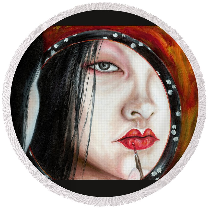 Japanese Woman Round Beach Towel featuring the painting Red by Hiroko Sakai
