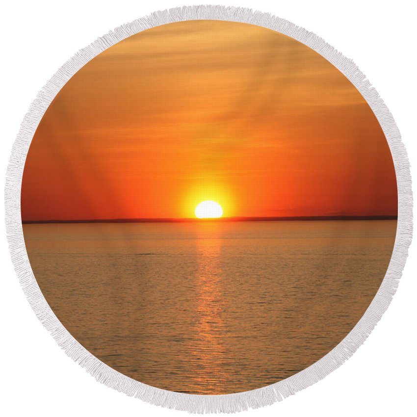 Red Hot Sunset Round Beach Towel featuring the photograph Red-hot Sunset by John Telfer