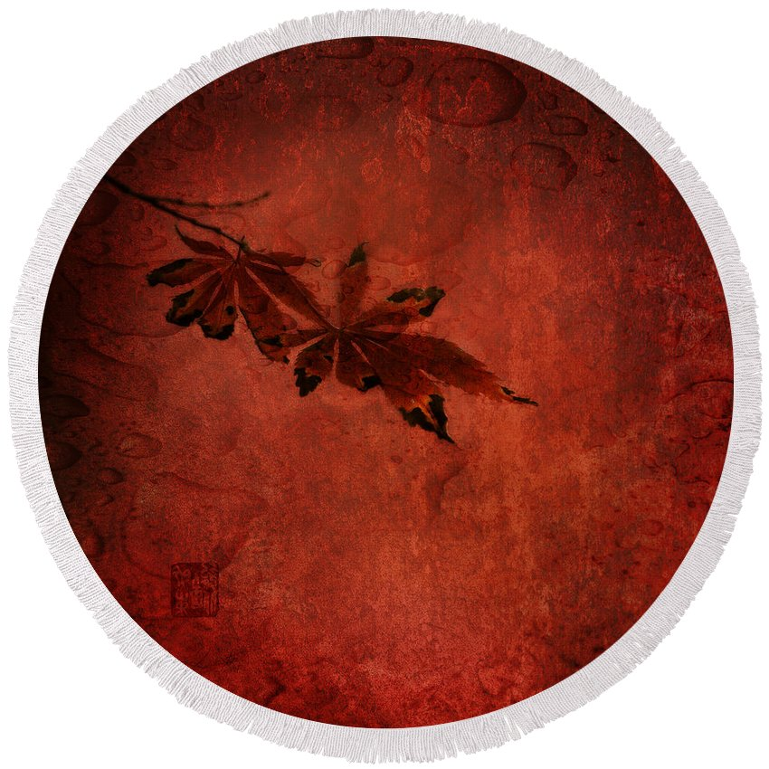 Autum Leaves Round Beach Towel featuring the photograph Red Japanese Maple On Red by Peter v Quenter