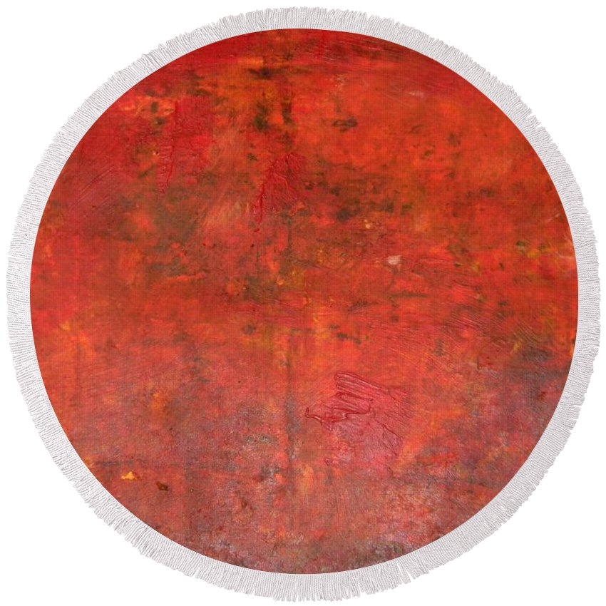 Red Jasper Round Beach Towel featuring the painting Red Jasper Stone by Owl's View Studio