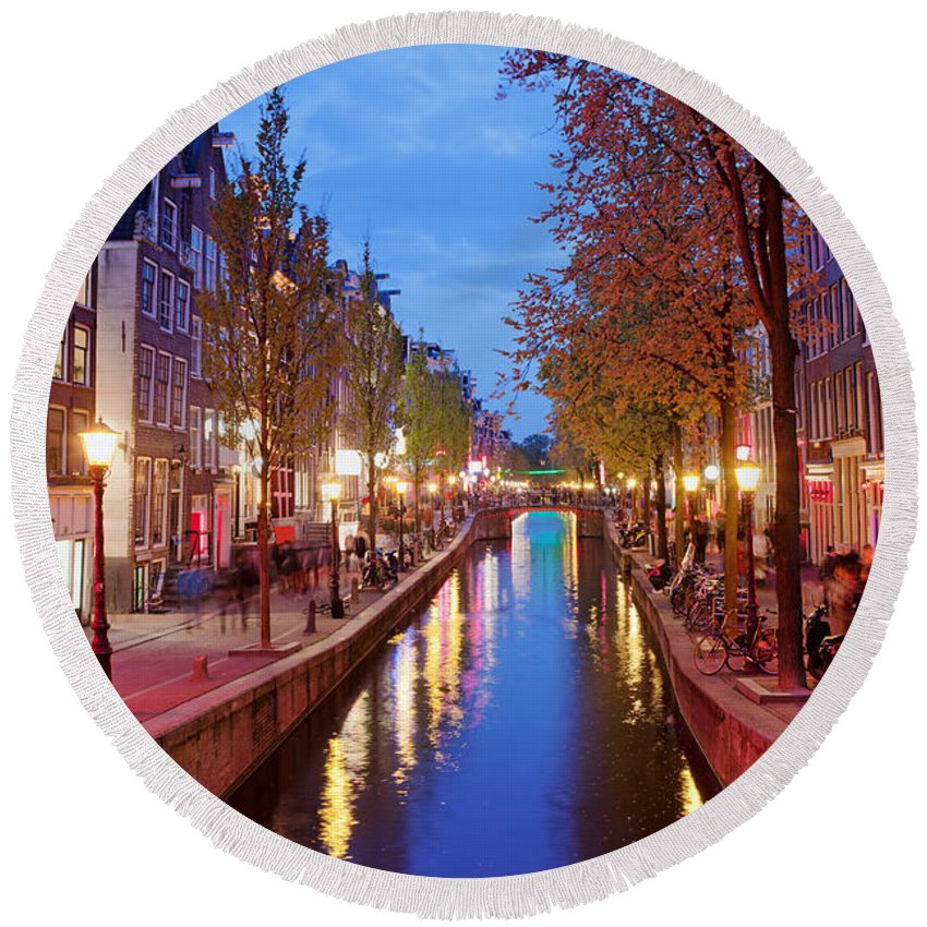 Amsterdam Round Beach Towel featuring the photograph Red Light District In Amsterdam by Artur Bogacki