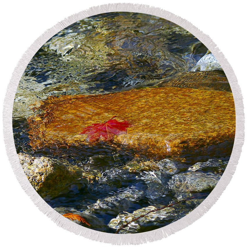 Red Maple Leaf Round Beach Towel featuring the photograph Red Maple Leaf In Stream by Sharon Talson
