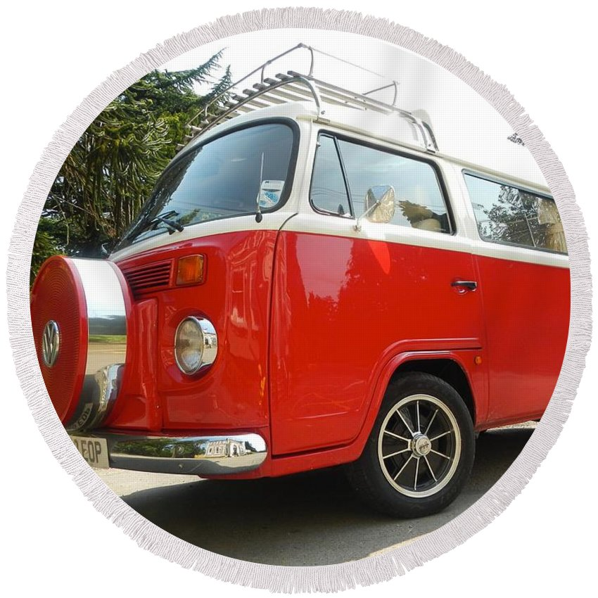Volkswagen Round Beach Towel featuring the photograph Red Nose by Loreta Mickiene